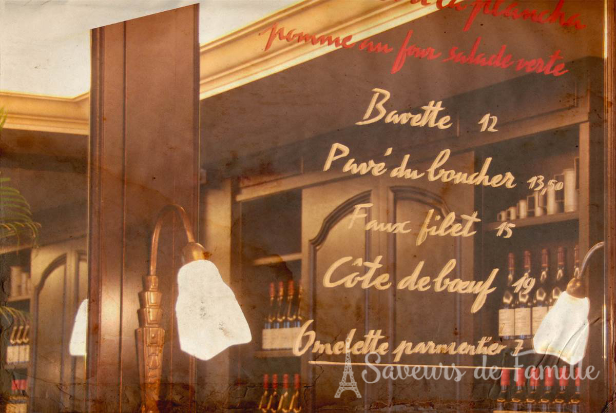 Menu of the Petit Cler bistro